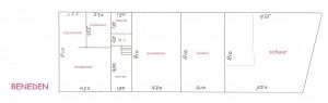 plattegrond huis met BINNEN-maten-BENEDEN